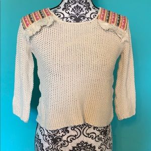 BillaBong Crop Knit Patterned Fringe Sweater S